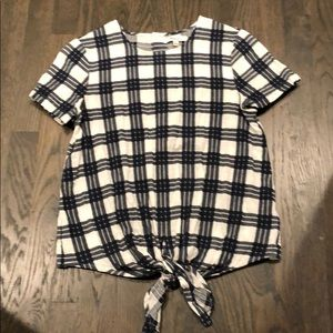 Madewell Gingham Tie Blouse XS